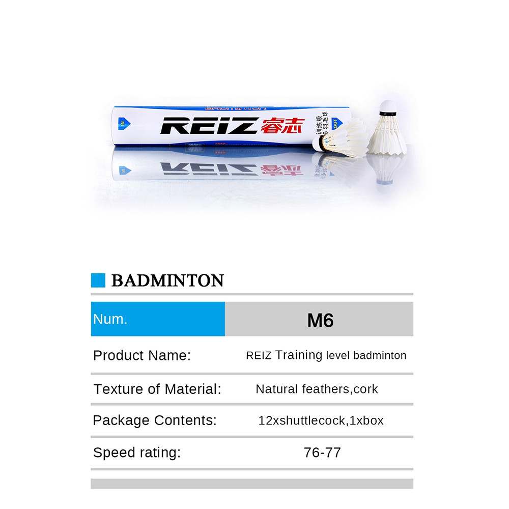 REIZ M6 Feather Shuttlecocks Professional Badminton Accessory 12PCS