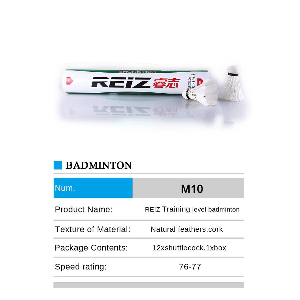 REIZ M10 Feather Shuttlecocks Professional Badminton Accessory 12PCS