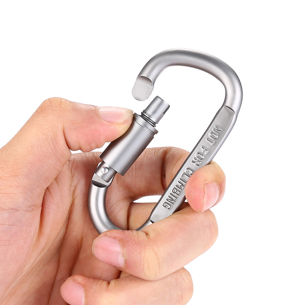 2PCS Aluminum Alloy D-shaped Screw Lock Security Buckle Connector Carabiner Chain