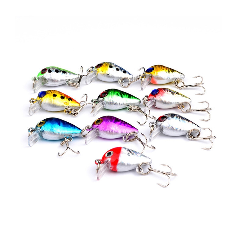 10 PCS Mini Fishing Lures 10 Colors Fishing Bait 2.6CM / 1.6G Fishing Tackle 10 High Carbon Steel Treble Hook
