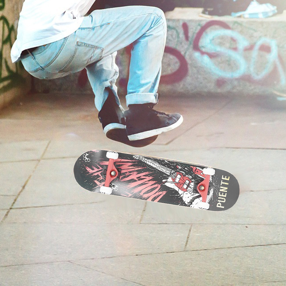 PUENTE 608 Four-wheel Double Kick Deck Skateboard