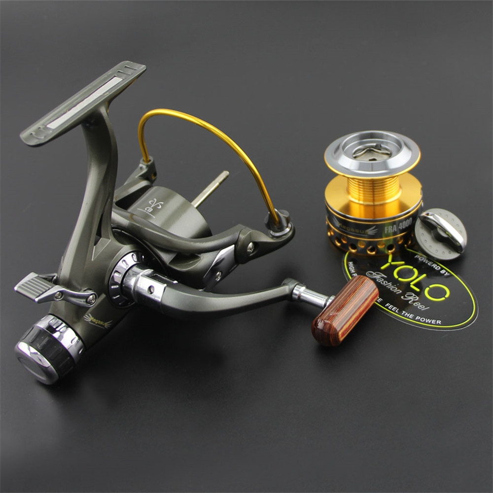 Dual Brake Feeder Spinning Reel Plus Extra Spool Carp Fishing Reel Bait Runner