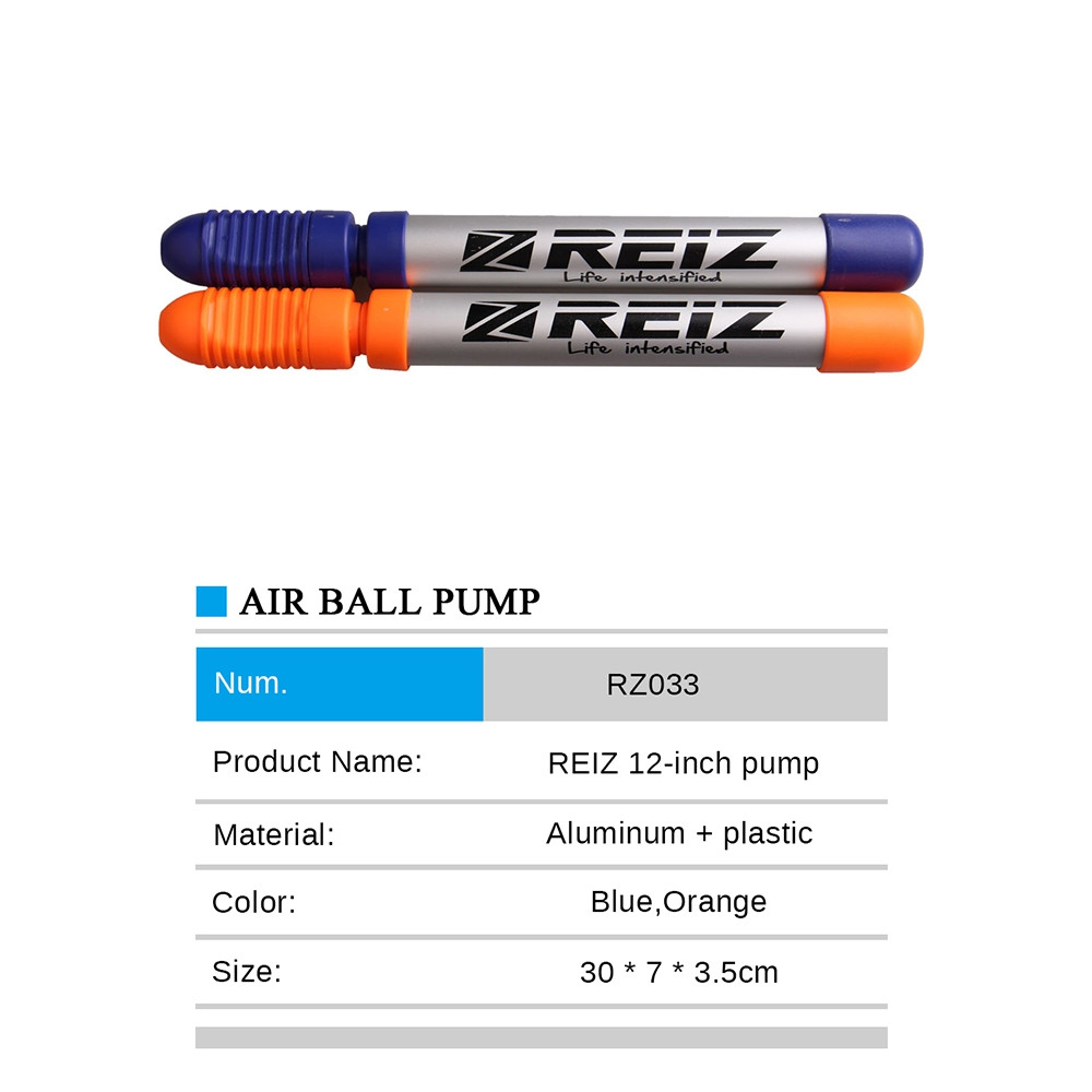 Reiz033 12-INCH High Quality Outdoor Mini Portable Hand Air Ball Pump / Needle Ball Party Balloon Soccer Inflator for Football/ Basketball/Volleyball