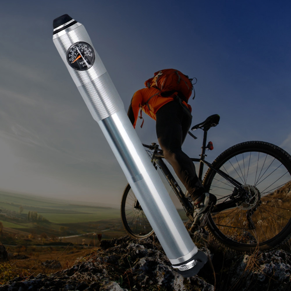 Deemount Aluminum Alloy Mini Bicycle Pump with Pressure Gauge