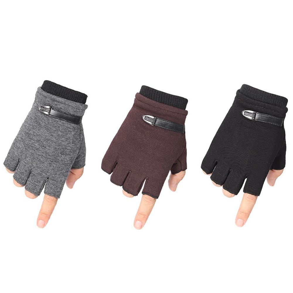 Winter Men Non-falling Warm Half Finger Velvet Thickening Gloves