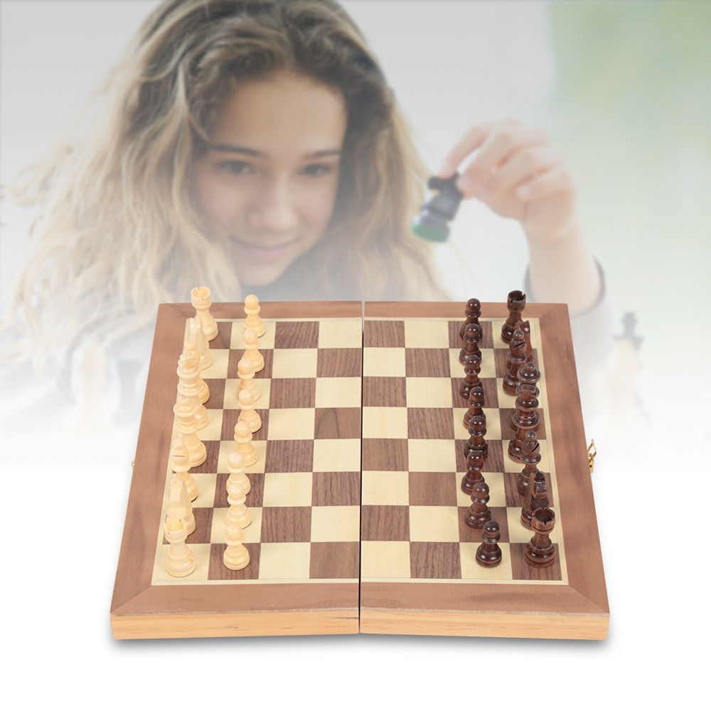 Folding Wooden International Chess Board with Magnetic Pieces