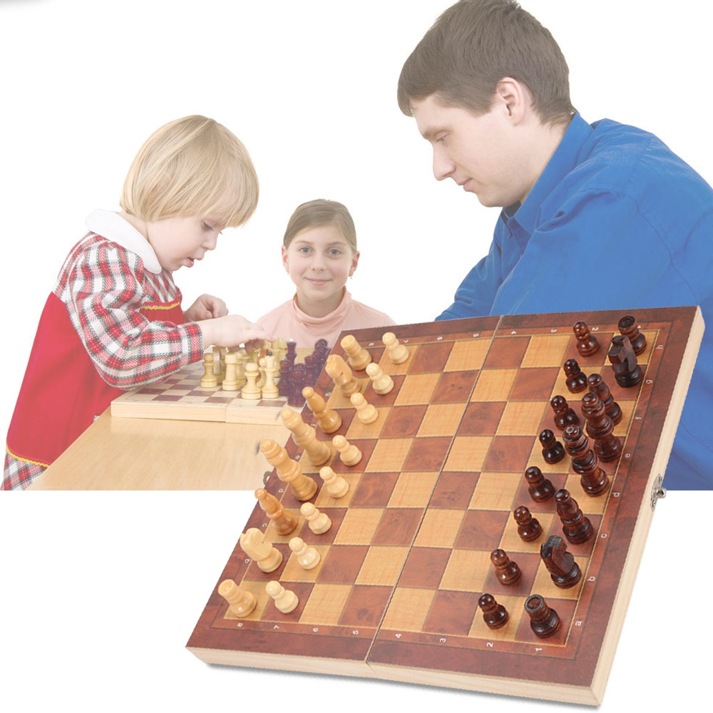 3-in-1 Folding Board Portable Wooden International Chess Set