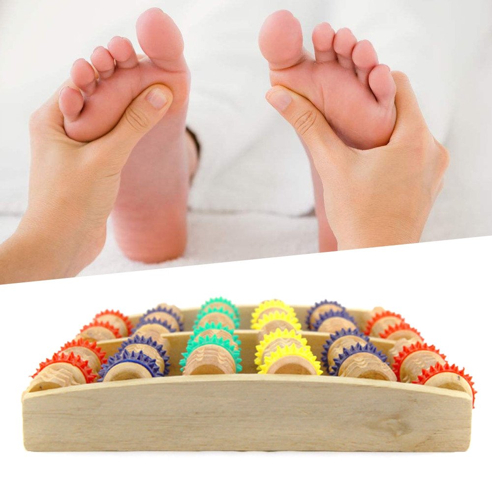 Wooden Foot Massager Roller Reflexology for Stress Fitness
