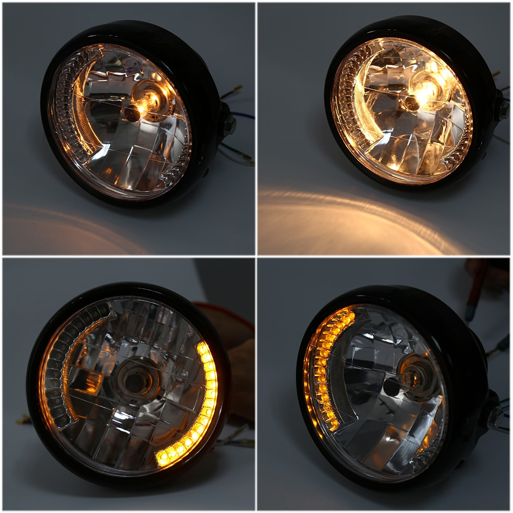 35W 2250Lm 12V Motorcycle  Yellow Light Head Lamp Round Headlights with Turn Signal