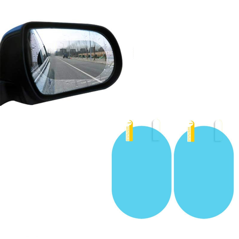 2PCS Car Rearview Mirror Oval Rain Film