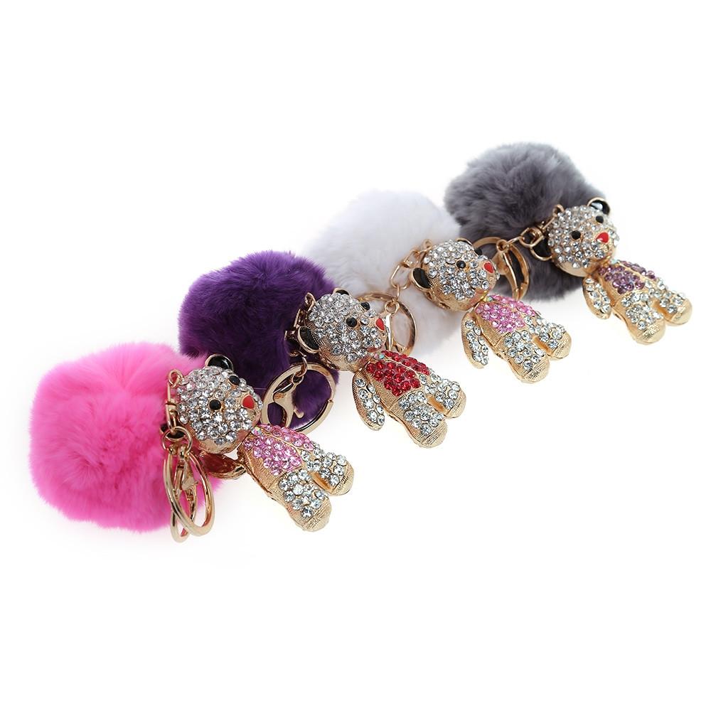 Fashion Alloy Diamond Cute Bear Plush Keychain