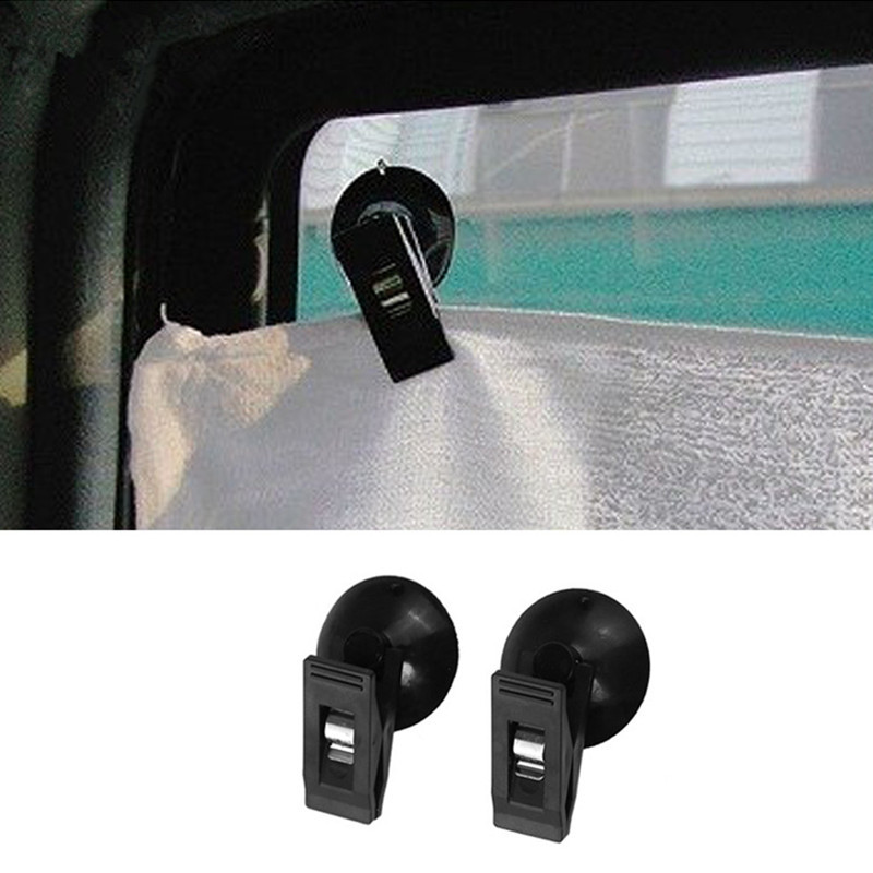 1 Pair Car Interior Window Mount Black Suction Cap Clip Plastic Sucker Removab