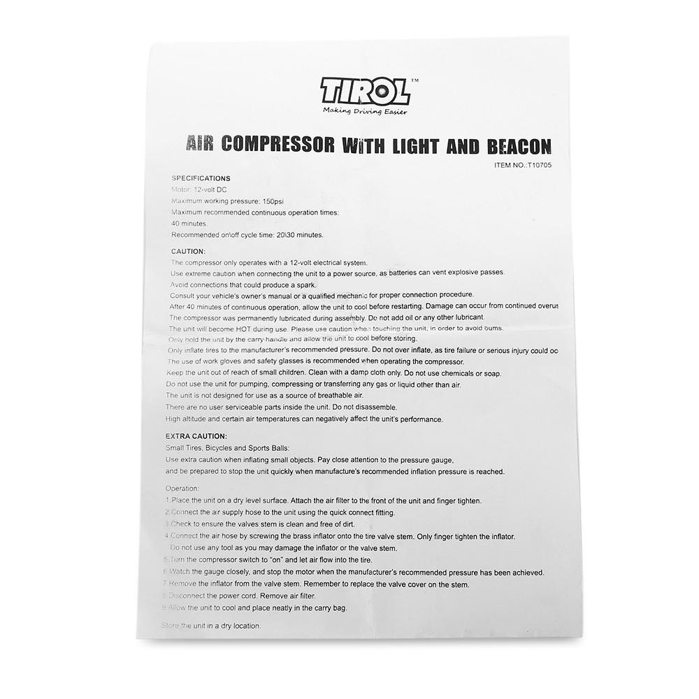 TIROL T10705 12V 150PSI Air Compressor