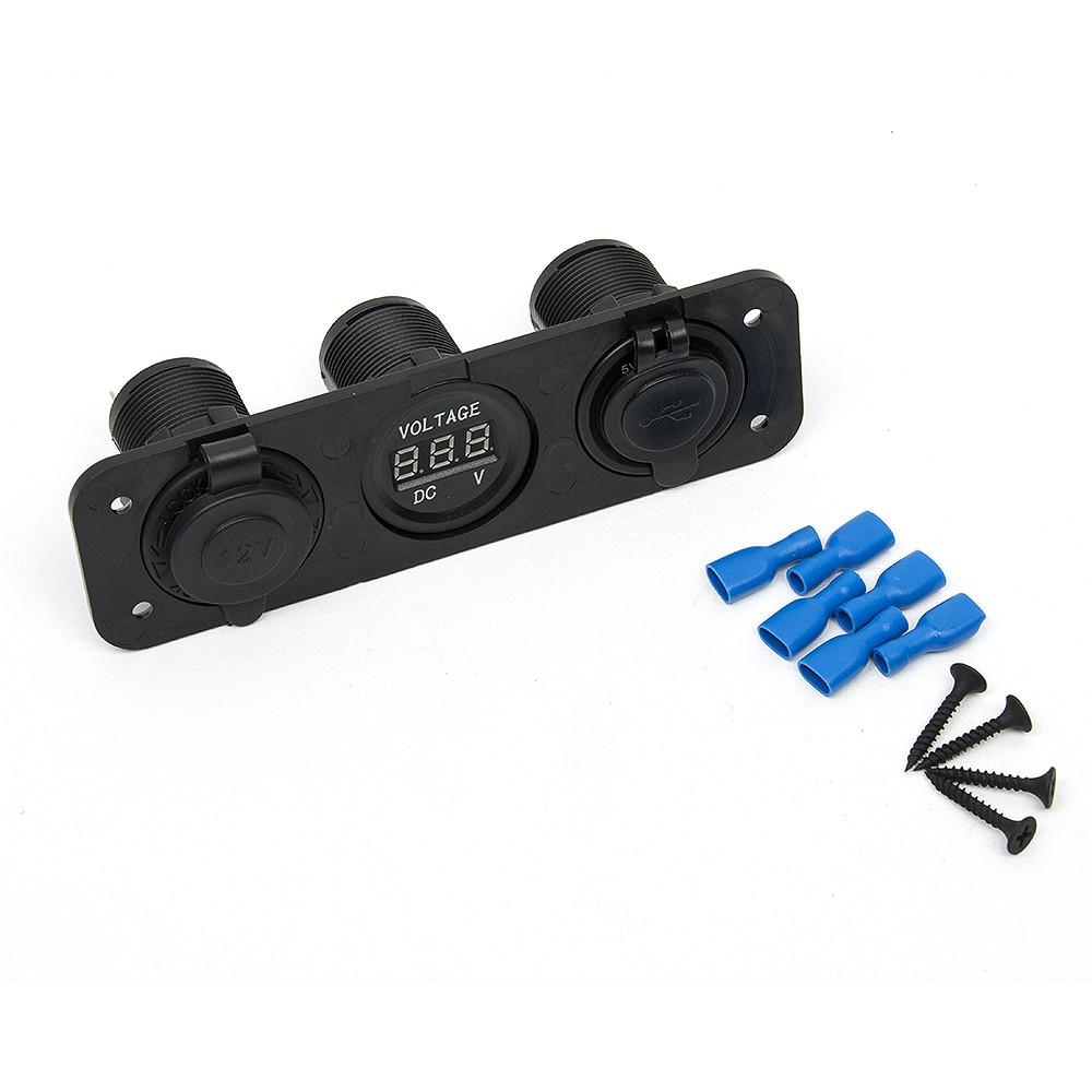 Car Charger Motorcycle Plug Dual USB Adapter+12V/24V Smoke  Lighter Socket Blue LED +Digital Voltmeter Mobile Phone