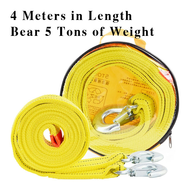 4M5T Car Towing Rope Strap Tow Cable with Hooks Emergency Heavy Duty 5 Tons