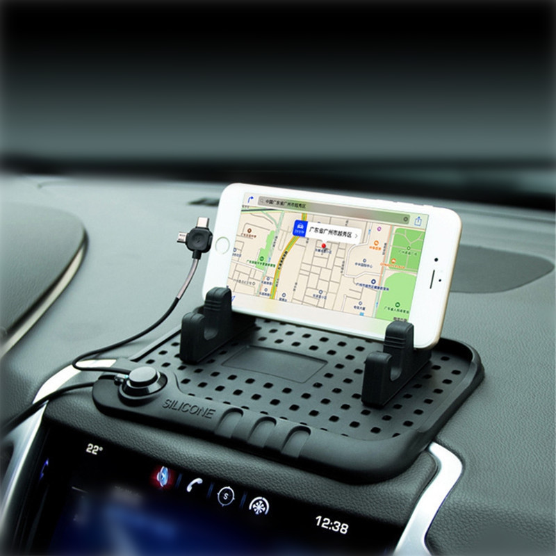 Creative Car Anti-slip Mat Dashboard with 3-in-1 USB Charging Parking Notification Function Silicone  GPS Stander