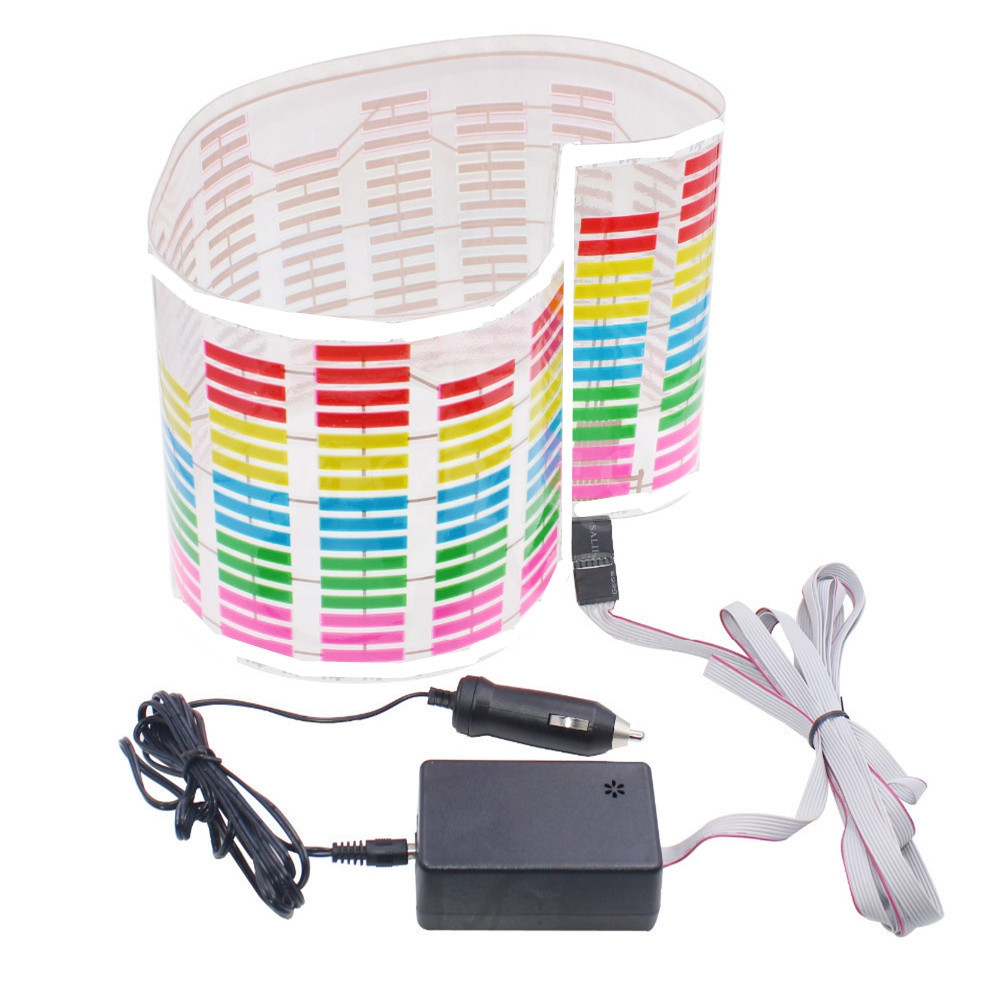 Car Music Rhythm Change LED Flash Light Voice-activated Equalizer Sticker