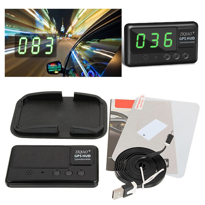 ZIQIAO Universal Car HUD Head-Up Display GPS Speedometer - Black