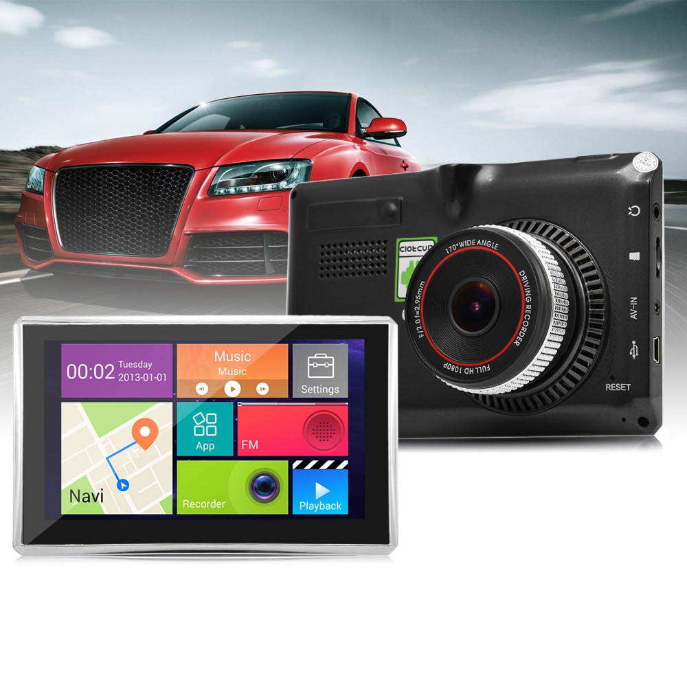 5 inch Android Car GPS 170 Degree Wide Angle 1080P DVR Multimedia Player