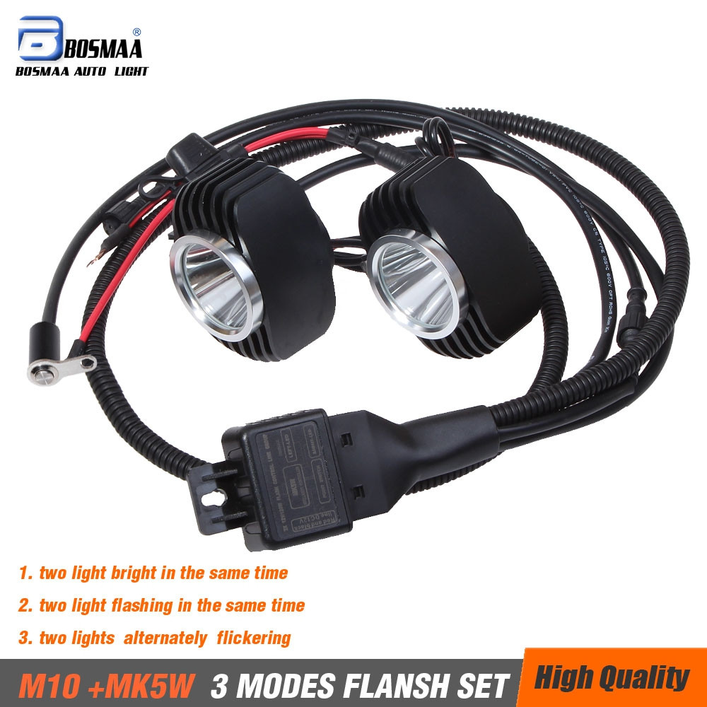 Bosmaa LED Car/ Motorcycle External Fog DRL Headlamp Spotlight Hunting Driving