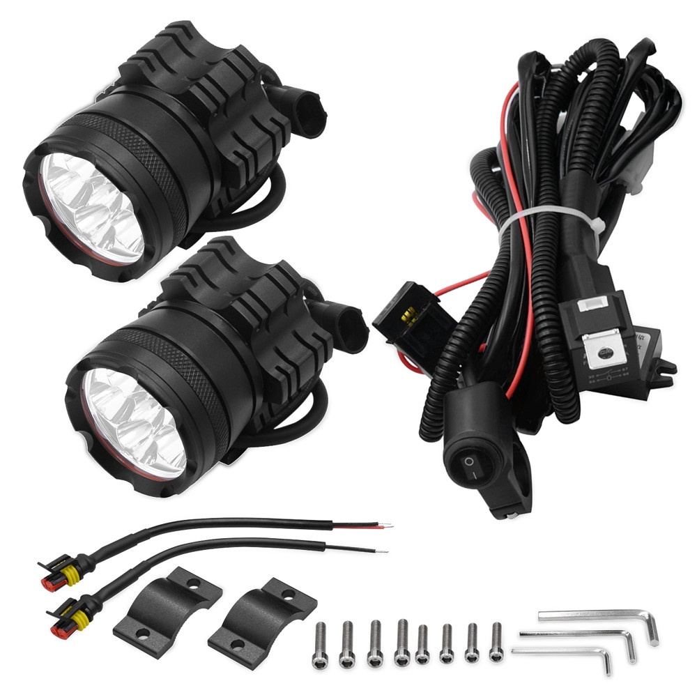 2PCS CS - 738A14 Motorcycle LED Headlight 6 Lamp Bead 60W Front Light with Switch