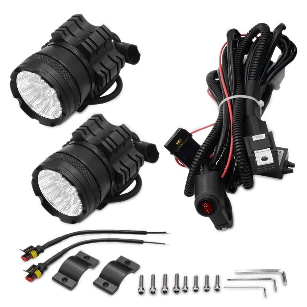 2PCS CS - 738A3 Motorcycle LED Headlight 9 Lamp Bead 90W Front Light with Switch