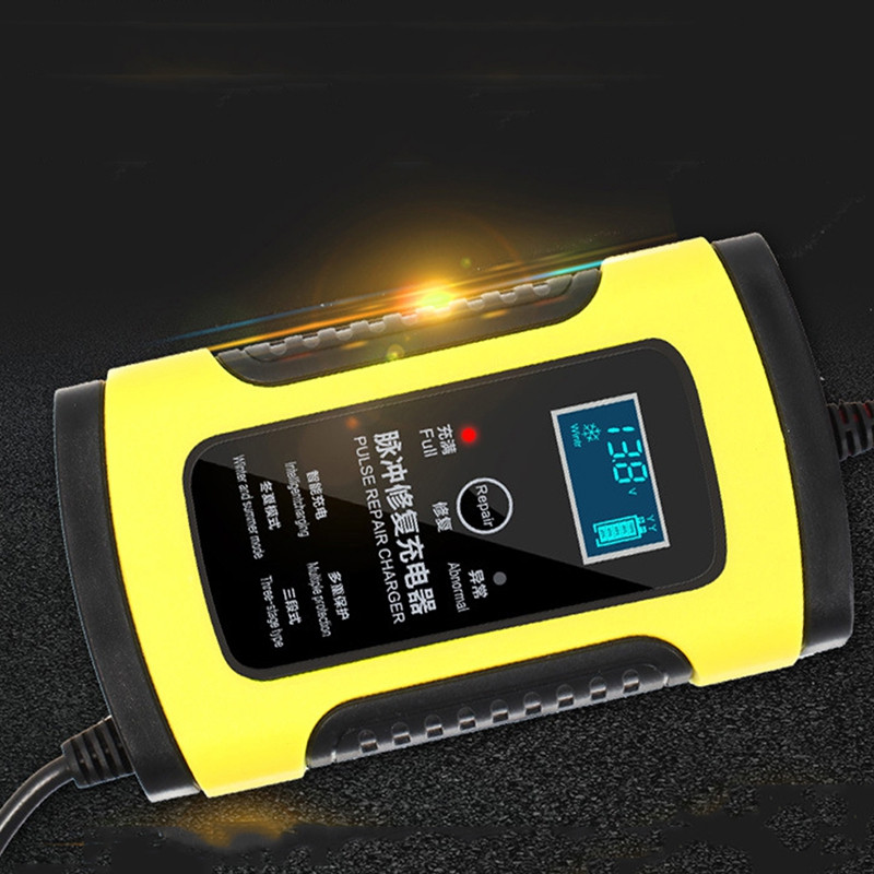 12V 6A Motorcycle Car Battery Charger Maintenance with Intelligent LCD Display