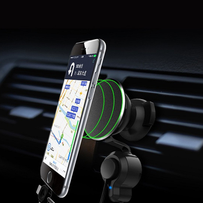 Magnetic Car Holder Charging Stand with 8 Pin / Type-C / Micro USB Cable