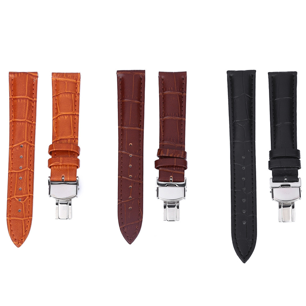 20MM Leather Watch Band Butterfly Clasp Strap