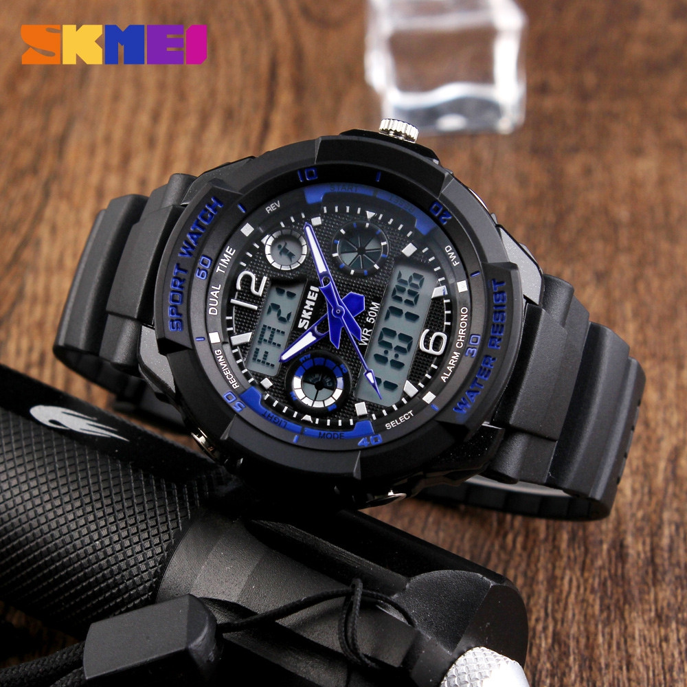 Skmei 1060 LED Sports Watch with Double Japan Movts 30M Water Resistant Plastic Watchband