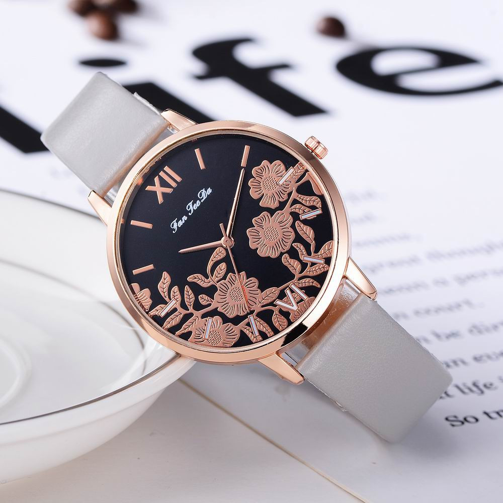 Fanteeda FD122 Women Unique Flowers Dial Leather Band Quartz Wrist Watch