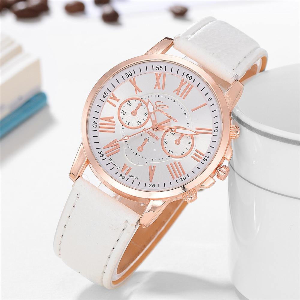 Geneva XR740 Women Simple Analog Quartz PU Leather Wrist Watch