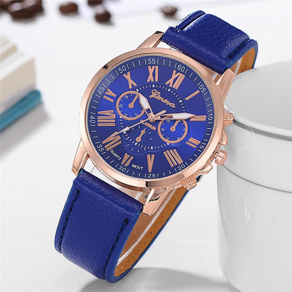Geneva XR740 Women Simple Analog Quartz PU Leather Wrist Watch