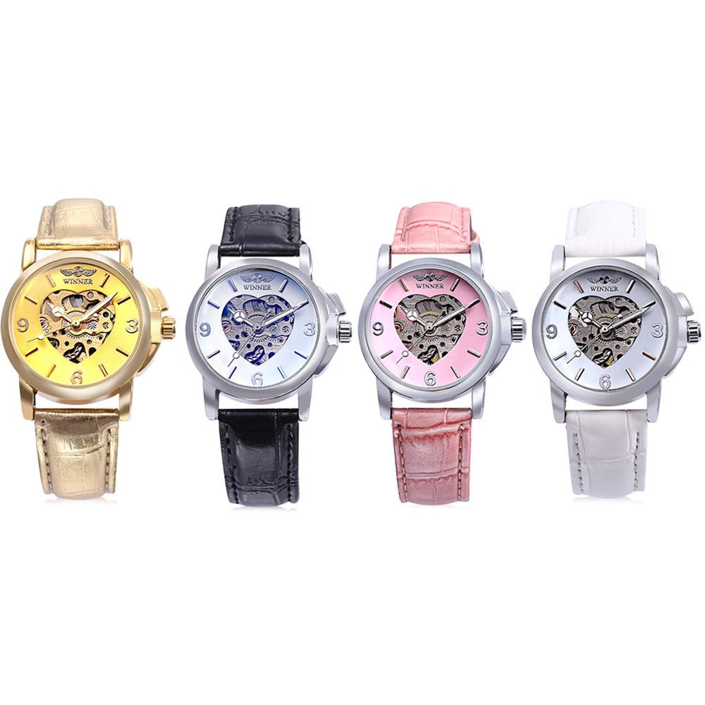 WINNER F2016090601 Female Auto Mechanical Watch Heart Pattern Luminous Hollow-out Dial Wristwatch