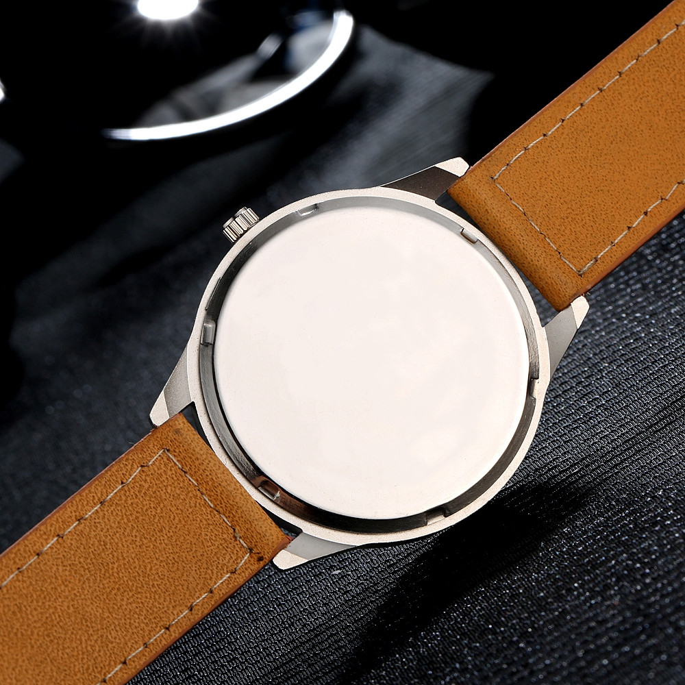 GAIETY Men's Easy Read Big Face Leather Strap Wrist Watch G002