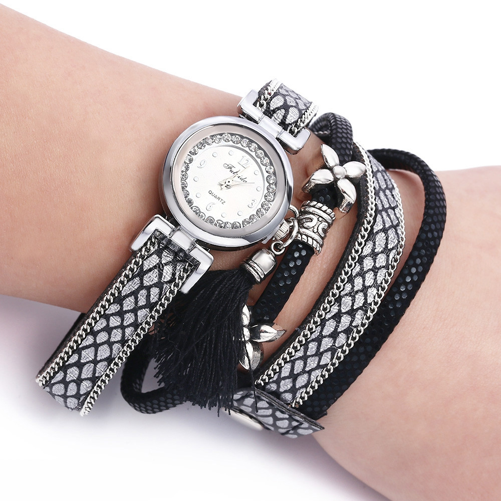 FULAIDA Women Quartz Rhinestone Tassel Bangle Wristwatch