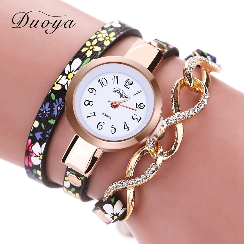 DUOYA D060 Fashion Gold Flower Gemstone Bracelet Watch Quartz Watch