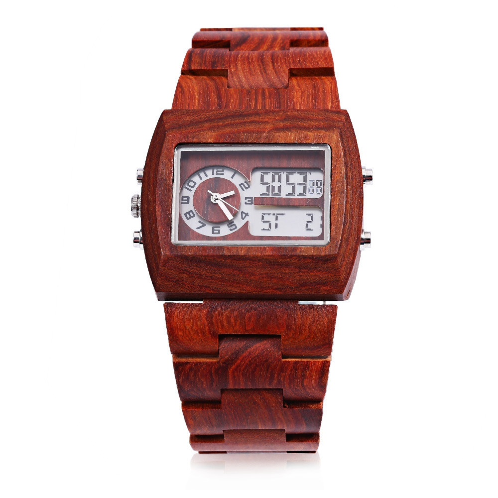 BEWELL ZS - W021A Men Dual Movt Watch Rectangle Dial Bamboo Wooden Case Calendar Wristwatch