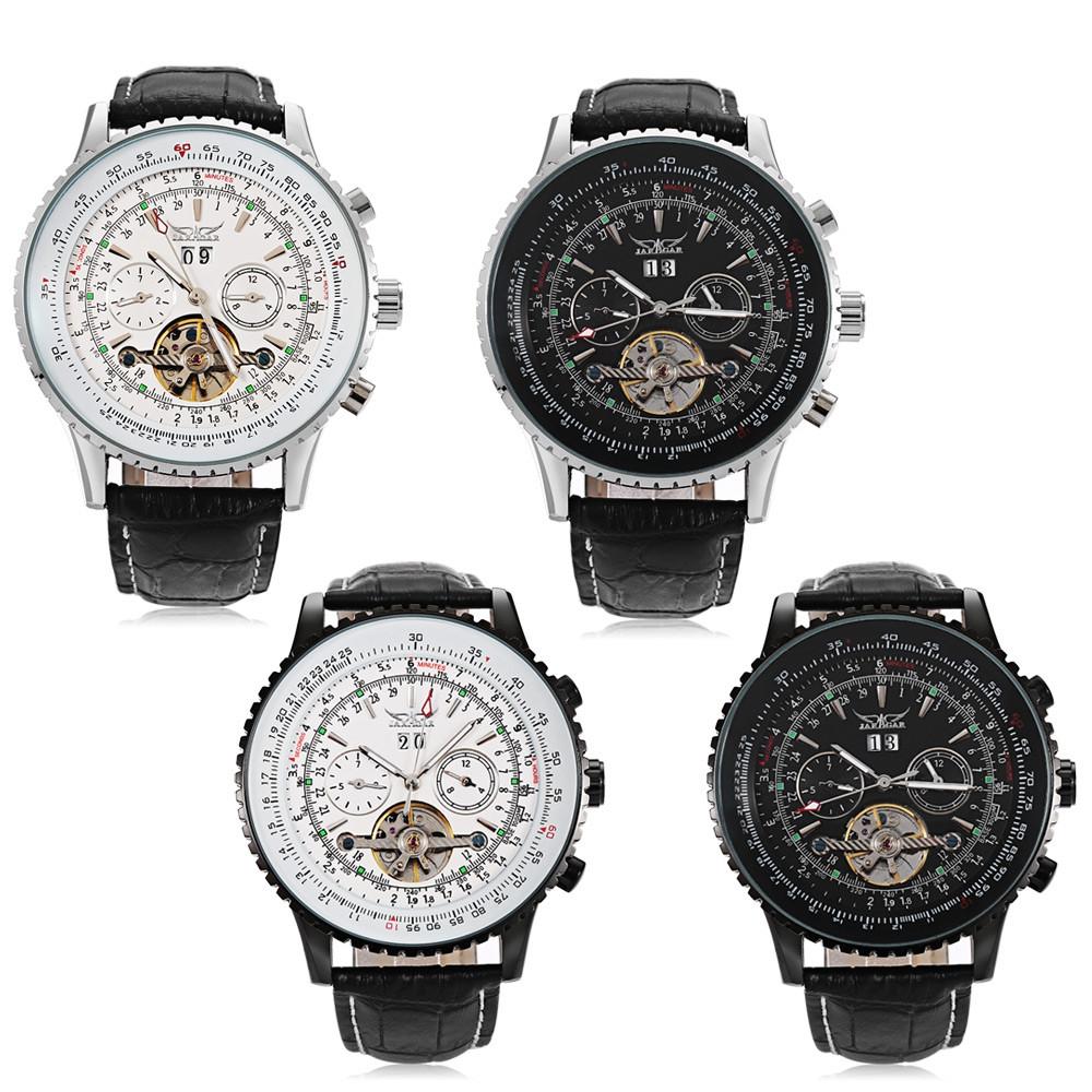 JARAGAR J1205314 Male Auto Mechanical Watch Luminous Date Day Display Tourbillon Wristwatch