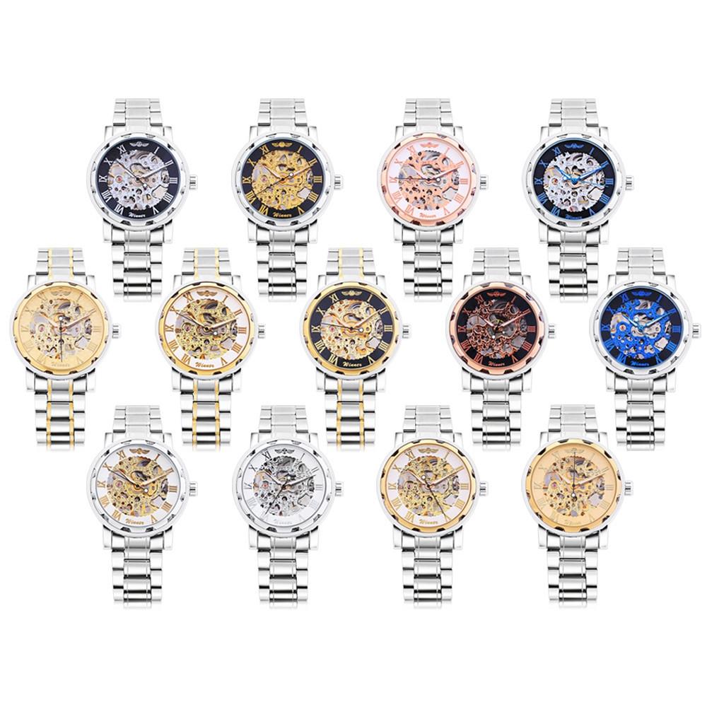 Winner F120604 Men Mechanical Watch Hollow Movement Luminous Stainless Steel Band Wristwatch