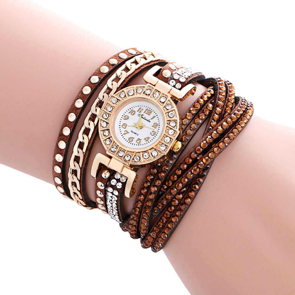 Fulaida Quartz Female Leather Band Rhinestone Wristwatch