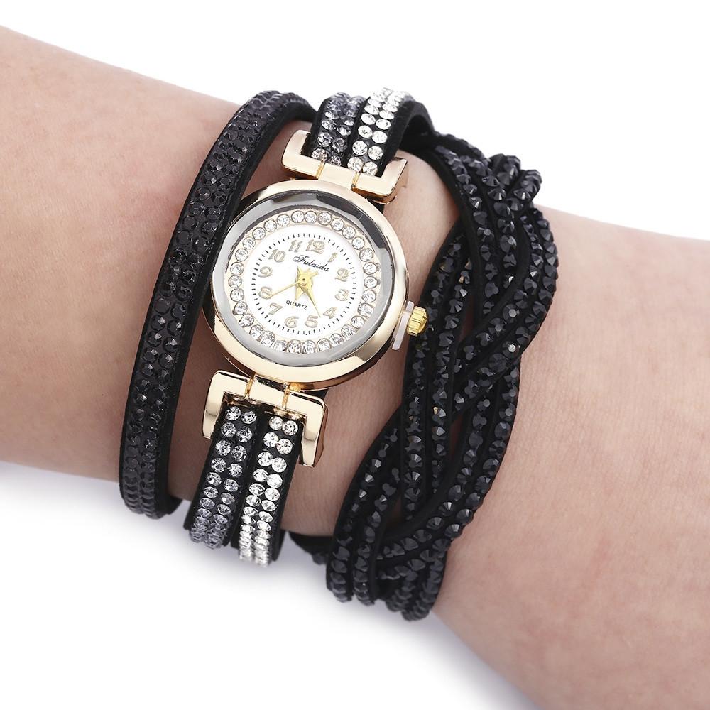 Fulaida Women Quartz Rhinestone Wristwatch Bracelet