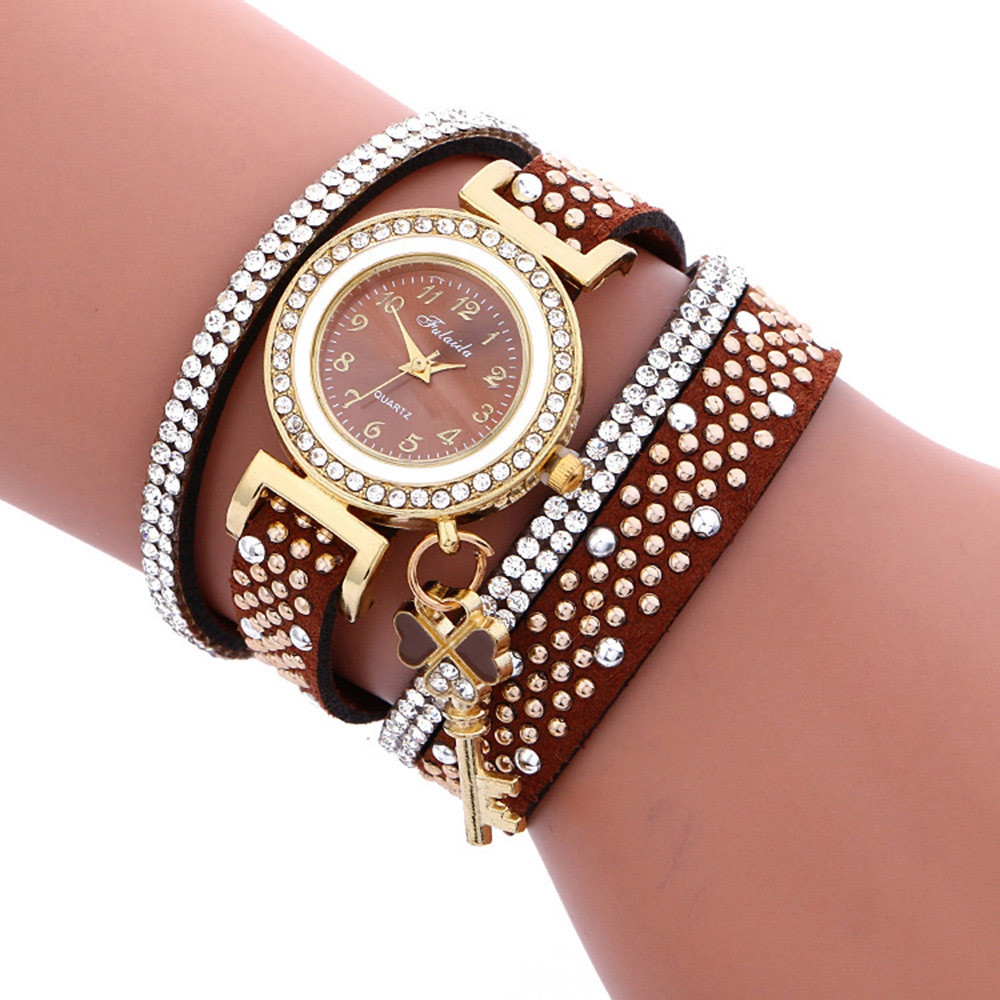 Fulaida Women Quartz Leather Band Rhinestone Watch