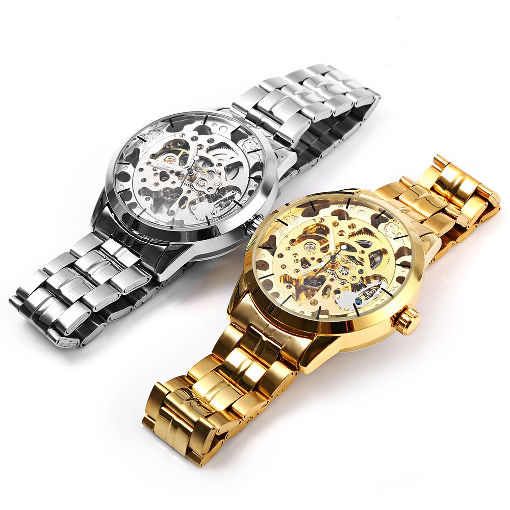 Winner W034 Automatic Mechanical Movement Hollow Out Men Watch with Stainless Steel Band