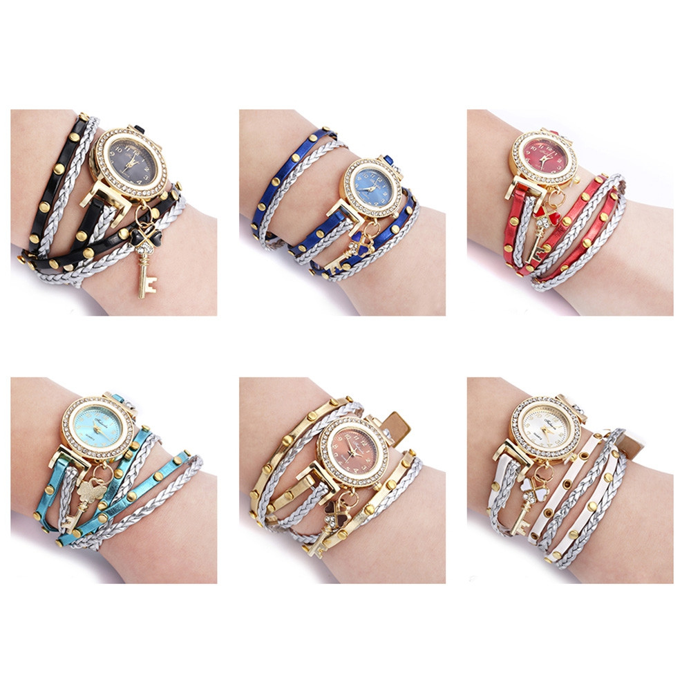 FULAIDA Female Quartz Rhinestone Bangle Wristwatch