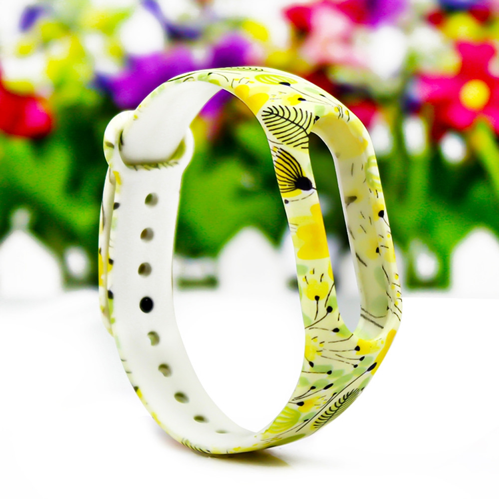 Elegant Printed Pattern Wristwatch TPU Strap for Xiaomi Mi Band 2