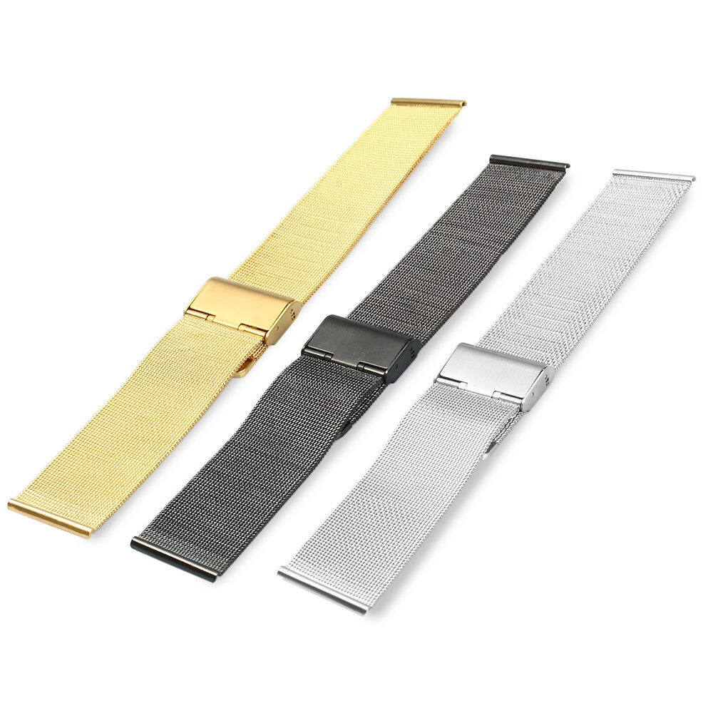 24mm Men Women Stainless Steel Mesh Watch Strap Folding Clasp with Safety Bracelet