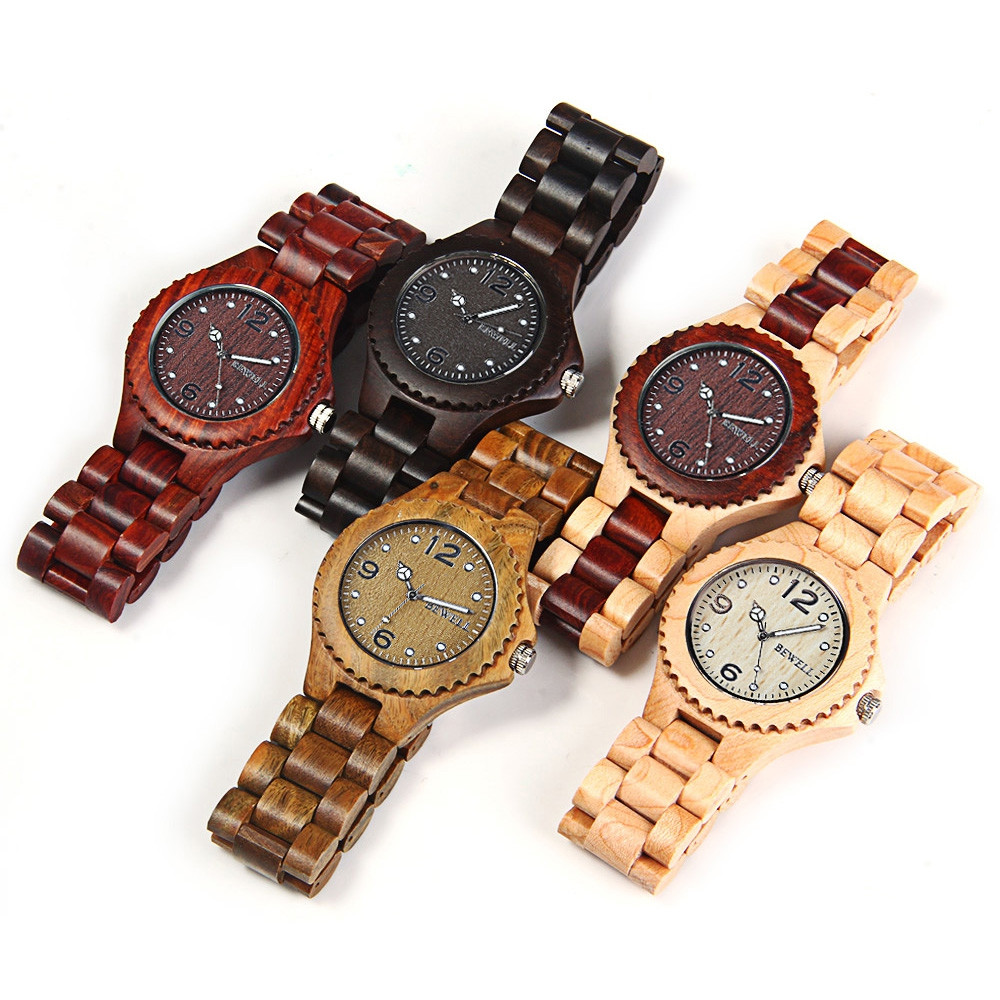 BEWELL ZS-W038A Sandalwood Wooden Men Women Quartz Watch with Luminous Hands