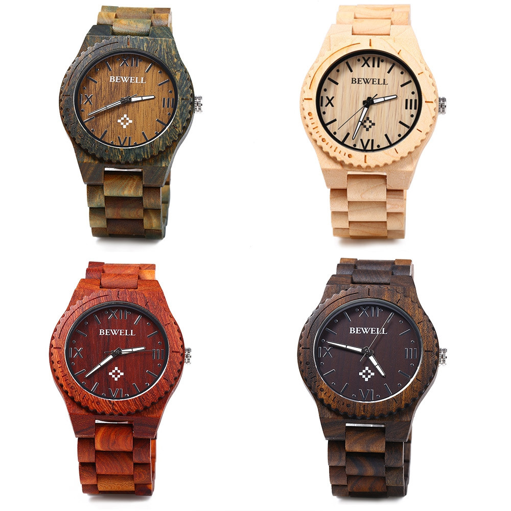 Bewell ZS - W065A Men Quartz Watch Wooden Strap Luminous Pointers