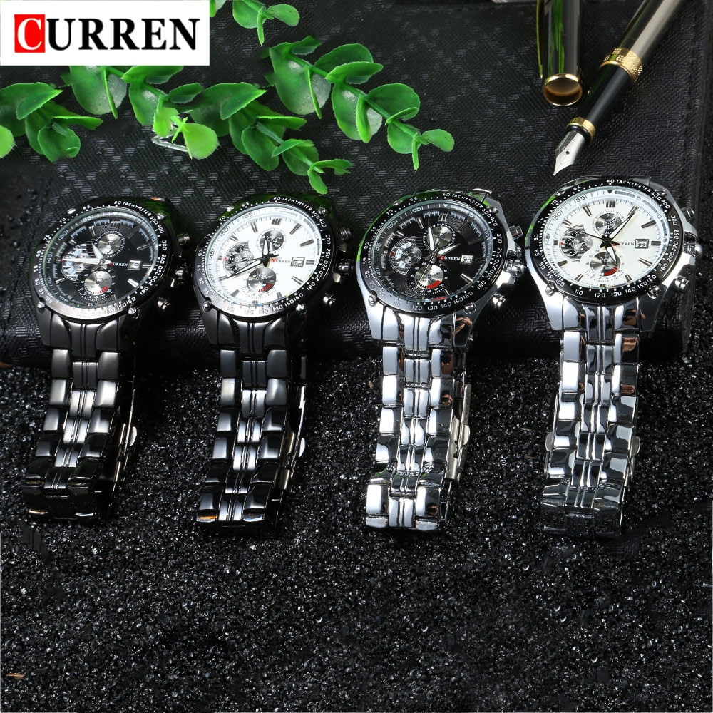 CURREN 8083 Male Quartz Watch Water Resistance Luminous Pointer Stainless Steel Band Wristwatch